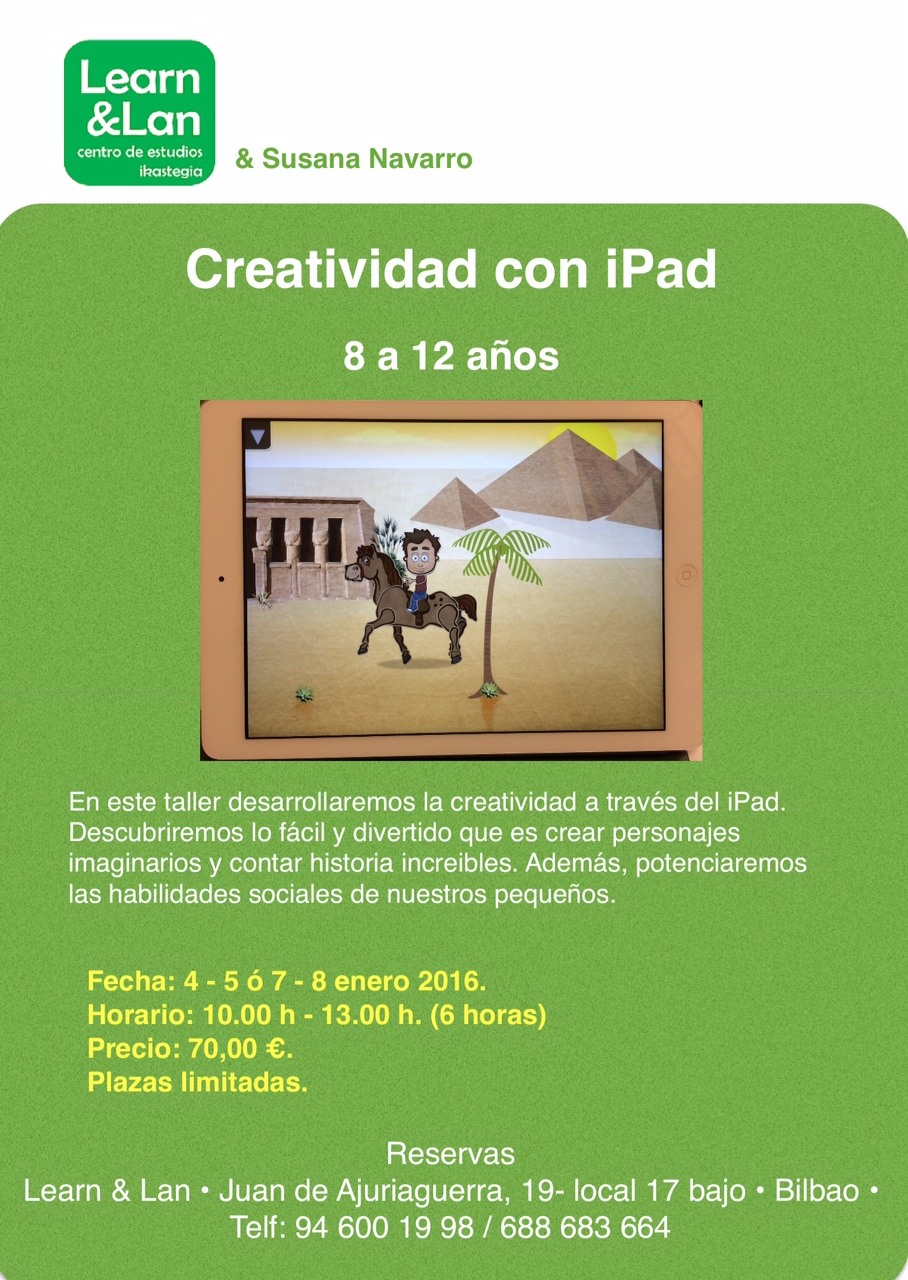 Cartel Taller infantil de creatividad con iPad 2