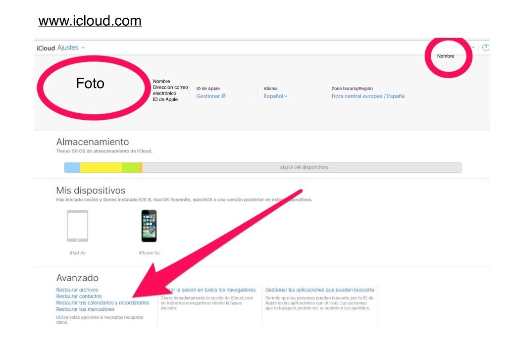 icloud restaurar archivos